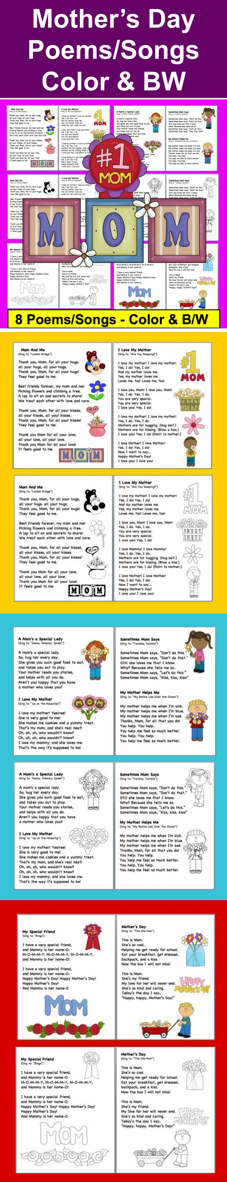 $ Mother's Day Poems/Songs – Shared Reading and Fluency - 14 Page Download – 8 songs/poems –  2 versions: color and black and white for students to color.