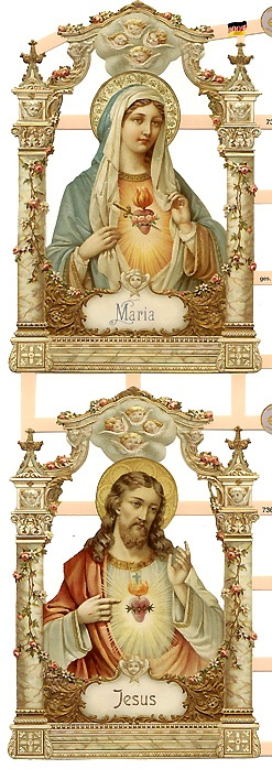 Jesus and Mary sacred heart scraps made in Germany ~ perfect for card making and Christmas ornaments