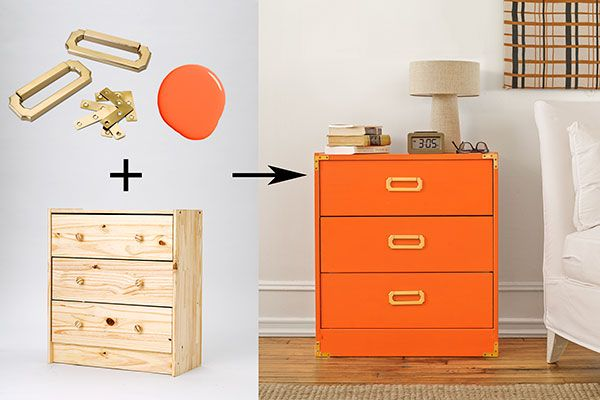 Swinging campaign pulls and brackets anchor this minimalist dresser that was inspired by the 1970s revival of turn-of-the-century traveling furniture. Pushing the kickplate to the dresser front and building out the top edge with thin shelf-edge molding creates a perfectly boxy surface for brassy corner brackets—after a high-gloss coat of orange, that is.Watch the full how-to: How to Make a Campaign DresserChampagne bronze pull with four corners, about $8 for a set; The Home ...