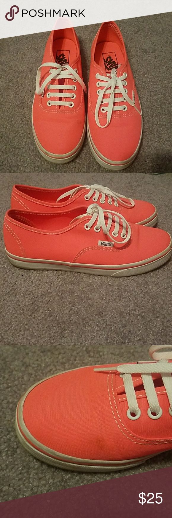 Neon coral vans Little black mark on the front of the right shoe might be able to way it out it's in the pictures Vans Shoes
