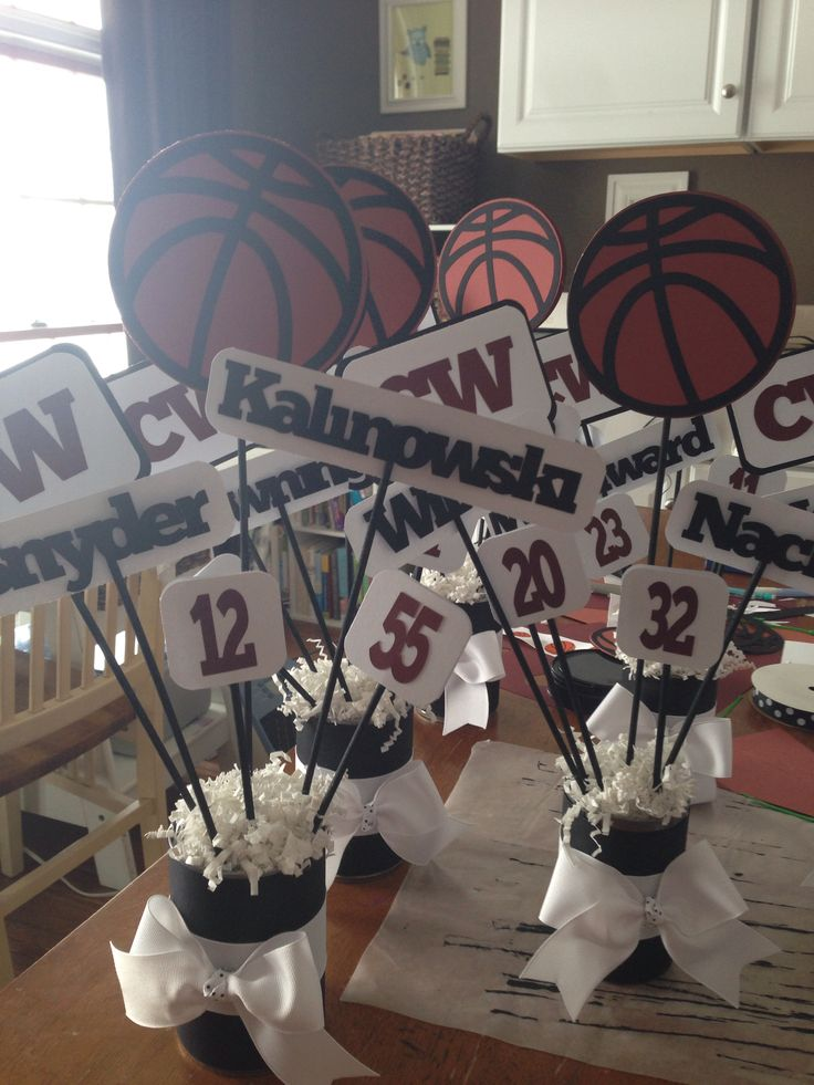 Basketball/football cheer/cheerleading banquet/dinner table decorations/center pieces.