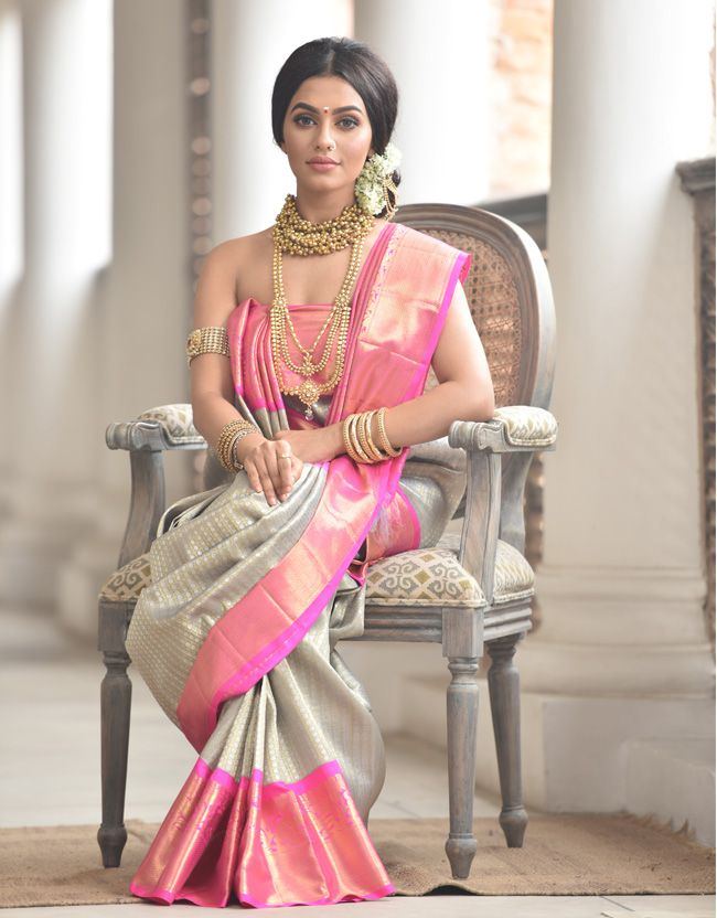 590b05cfa9 GREY & PINK PURE SILK KANCHIPURAM RANGOLI COUTURE DESIGNER SAREE. #saree  #sareefashion #designersaree #fashion #womensfashion