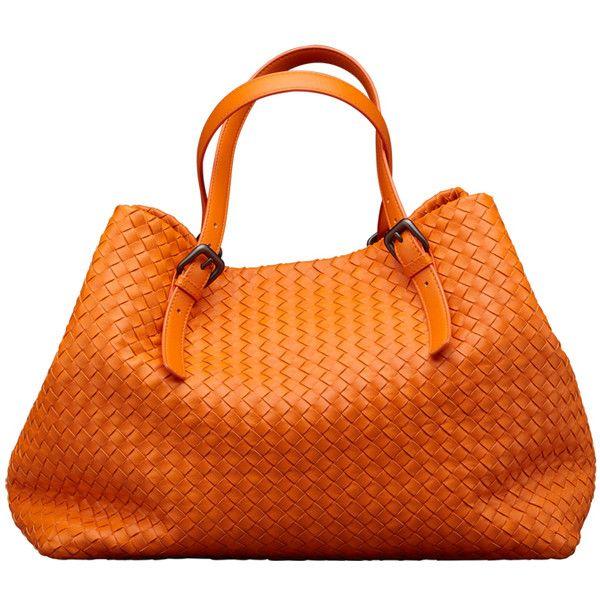 Fire Opal Intrecciato Nappa Tote ($3,480) ❤ liked on Polyvore featuring bags, handbags, tote bags, purses, orange, сумки, women, bottega veneta tote bag, clasp purse and orange tote