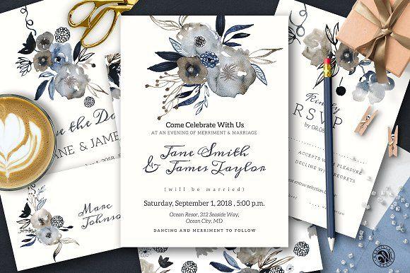 Grey Wedding Invitation Set by Webvilla on @creativemarket