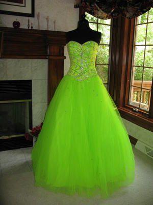 Tiffany 16825 Neon Lime Presentation Ball Gown Dress 4 | eBay