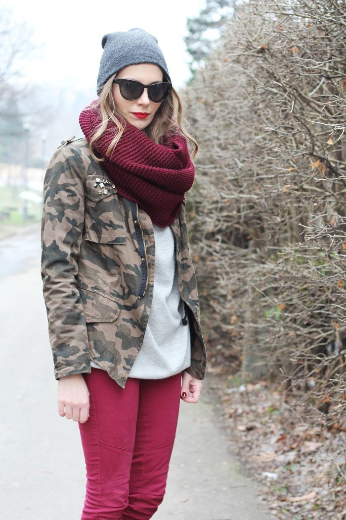 Great outfit! cranberry pants, camouflage jacket!   Via Fashion and style..