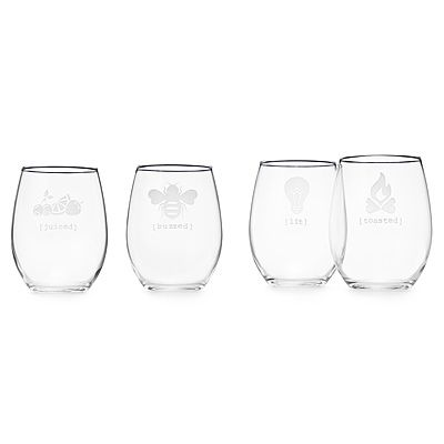 """UNDER THE INFLUENCE"" STEMLESS WINE GLASS SET 