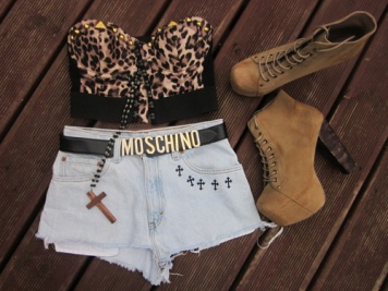 Jeffrey Campbell litas, Moschino belt, Vintage levi ragged priest shorts & topshop bralet and necklace.