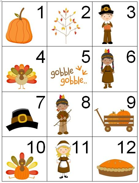 Counting Coconuts: Calendar Cards: Thanksgiving