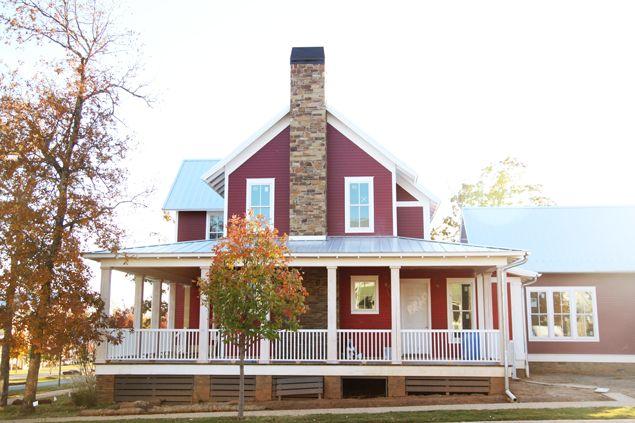 Gorgeous barn red new American farmhouse. #carltonlanding #newurbanism www.pencilshavingsstudio.com