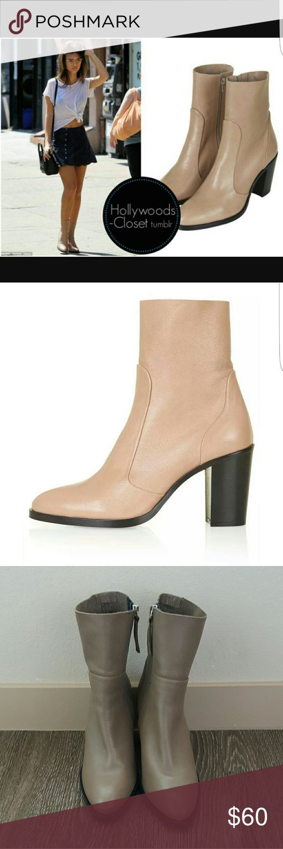 New Topshop Magnificent beige ankle boots Topshop magnificent beige ankle boots size 38 new without tag used as store display never worn outside. Walk tall with a modern-classic ankle boot. This pair comes with a rounded point toe and sock detail. Heel height - 3.5 inches. Main - 100% Leather, Lining - 100% Pigskin Leather. Specialist leather clean only. Get these boots while you can worn here by Emily Ratajkowski and Selena Gomez in blue! Topshop Shoes Ankle Boots & Booties
