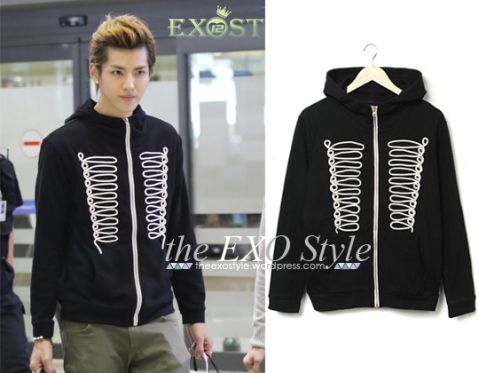 Marching Band Zipped Hoodie in Black