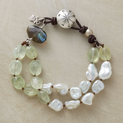 strands of prehnite and cultured pearls join a labradorite and a sterling silver button clasp