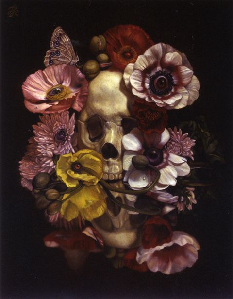 "Japanese artist Toru Kamei ""surrealist take on vanitas painting.  See more of his work at http://hifructose.com/2015/02/16/toru-kameis-mythological-paintings-and-haunted-still-lifes/"