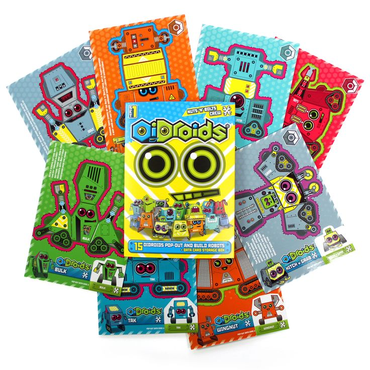 OiDroids Nuts 'n' Bolts Crew Set 1 pack and cards