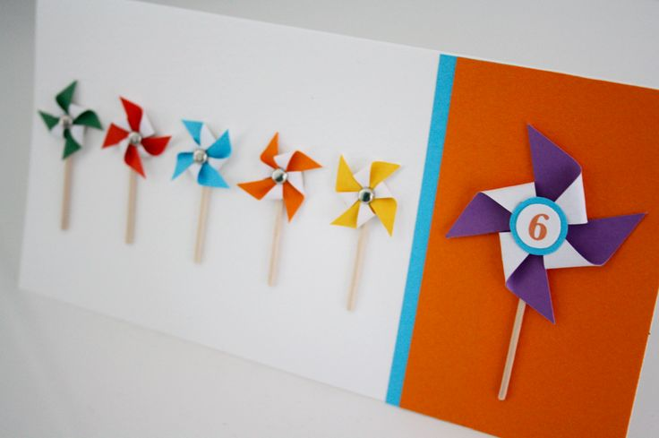 DIY: Hyrrä-onnittelukortti 6-vuotiaalle / Pinwheel birthday greeting card for a 6 yearl old