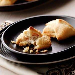 Chicken Puffs, So easy and Yum!  Crescent rolls, cream cheese, shredded chicken.