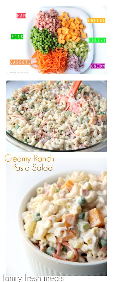 Creamy Ranch Pasta Salad - The best pasta salad ever! FamilyFreshMeals.com I
