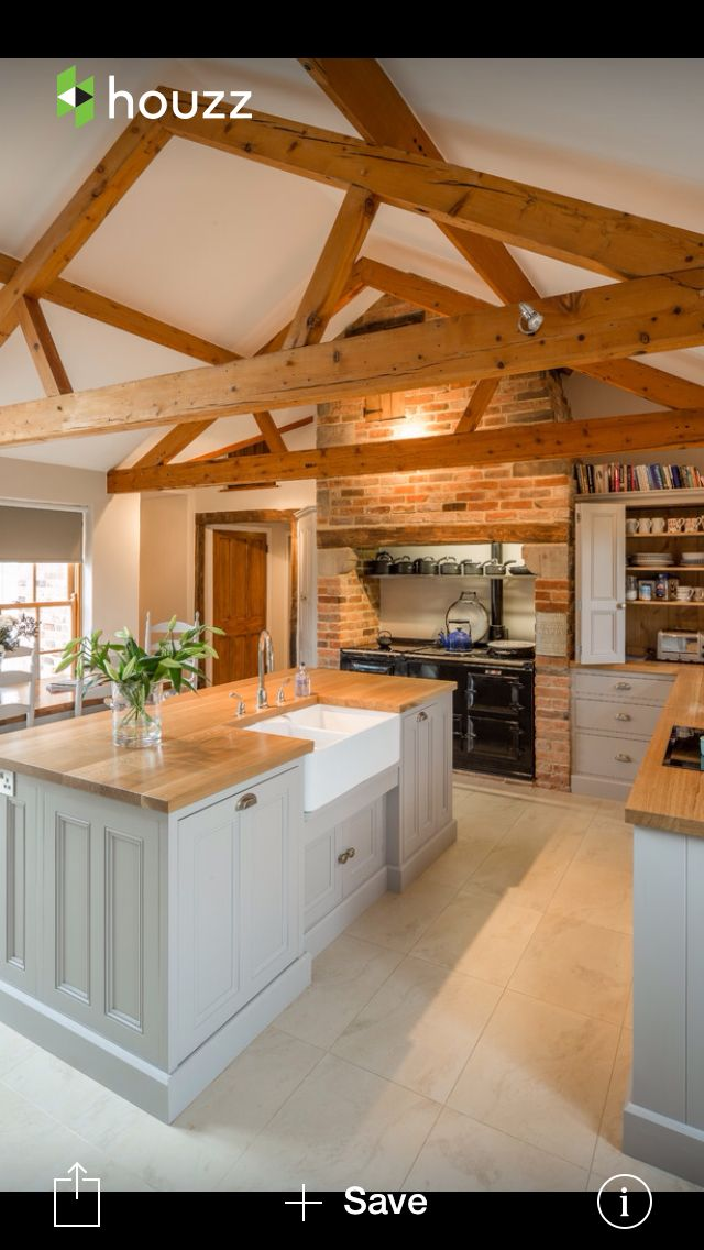 Wooden counters, beams, brick