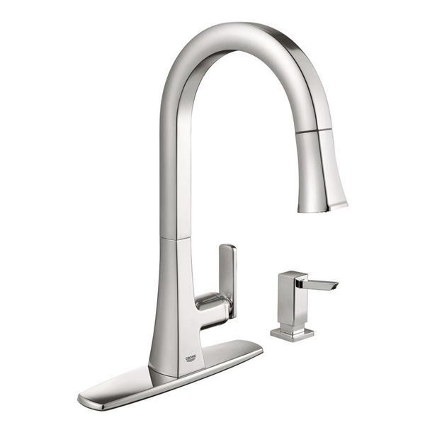 Grohe Carre Chrome 1 Handle Pull Down Kitchen Faucet Lowe S Canada Kitchenfaucetlowes Kitchenfauc Kitchen Faucet Modern Kitchen Faucet Grohe Kitchen Faucet