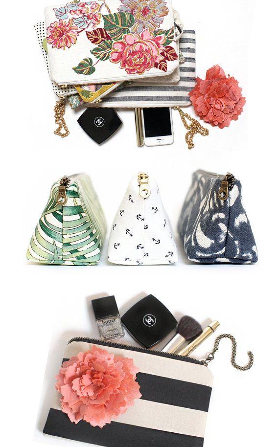 Pastel floral clutch bag Makeup bag Wedding gift by eclu on Etsy