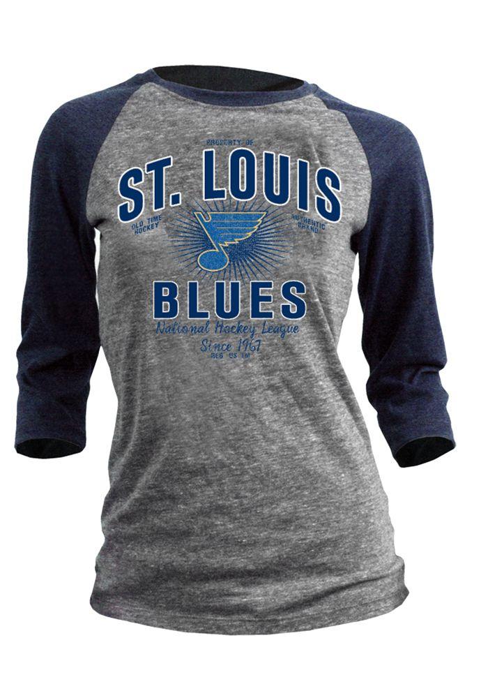 St. Louis Blues Women's Grey and Navy 3/4 Sleeve Shirt http://www.rallyhouse.com/nhl/w/st-louis-blues/a/t-shirts/b/womens-t-shirts/c/long-sleeve?utm_source=pinterest&utm_medium=social&utm_campaign=Pinterest-STLBlues $27.99