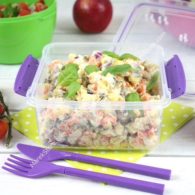 Pojemnik na żywność lunch box na sałatkę ze sztućcami w zestawie - 1,2 litra   SISTEMA TO GO LUNCH PLUS