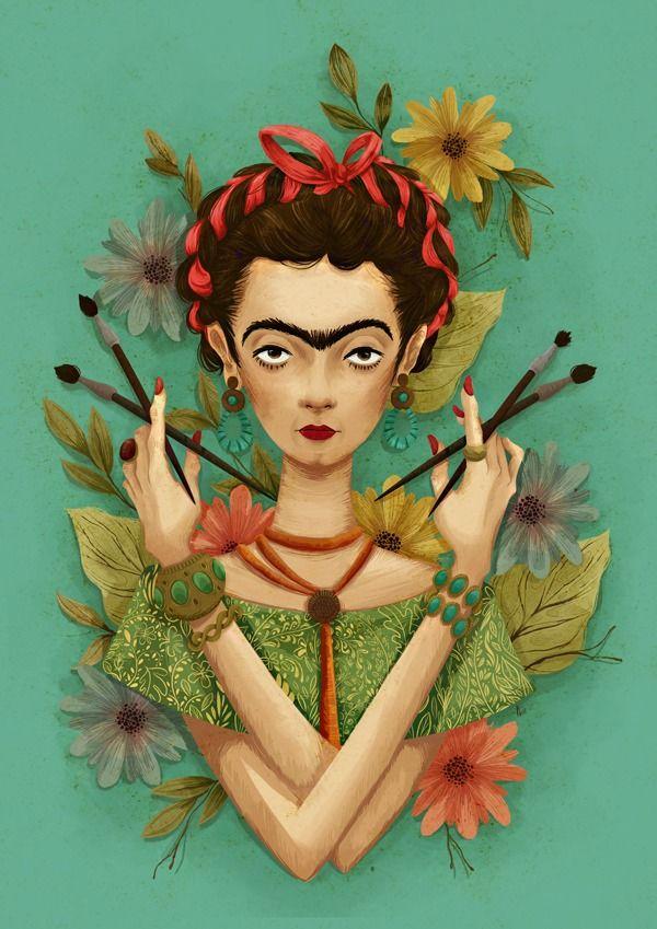 """""""Frida Kahlo"""" in Illustration by Plinio Fernandes http://designspiration.net/plinio/"""