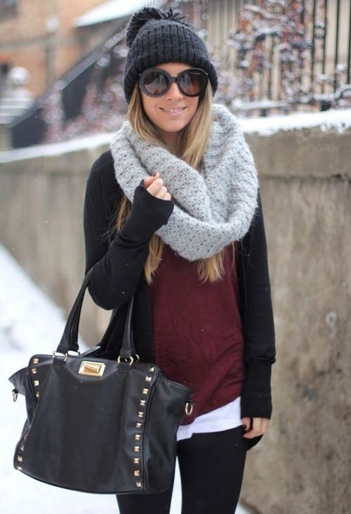 winter layering with a chunky knit cardigan and beanie~ #outfits