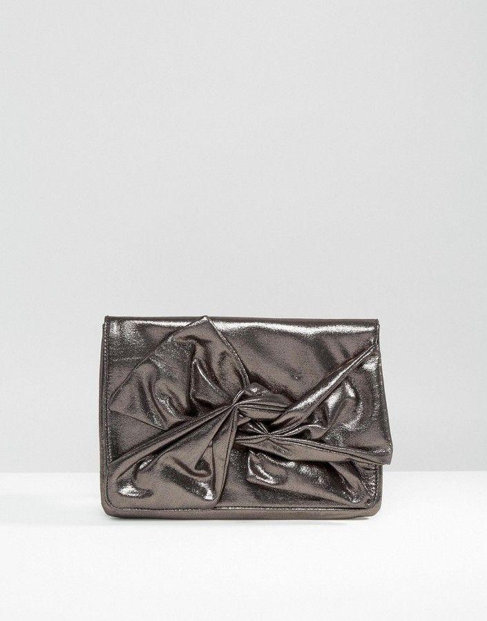 ASOS Metallic Soft Bow Clutch Bag