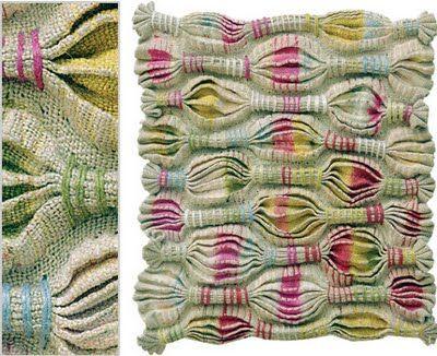 líneas. Repinned by Elizabeth VanBuskirk. Wonderful use of honeycomb, one of my favorite weaving techniques.