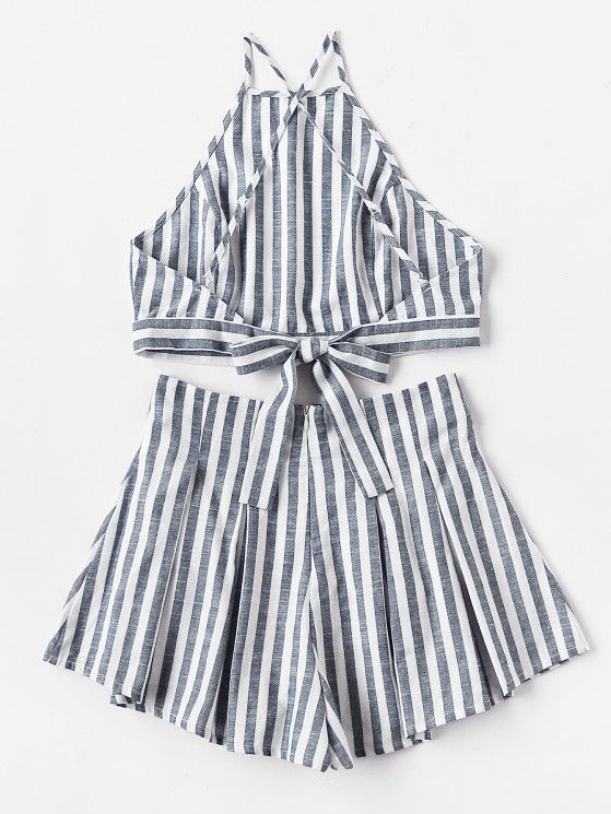 Crisscross Tie Back Striped Cami Top And Pleated Shorts Set from a great selection of women's fashion clothing & more at MakeMeChic.COM.