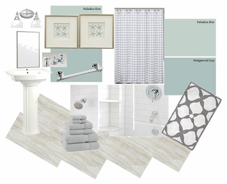 White cottage bathroom design board. Calming grays,whites and blues were the perfect mix of color. Our board shows travertine plank floor tiles, a choice of Ben Moore Wedgewood Gray(HC-146) or Palladian Blue (HC-144), Kohler pedestal sink, Kohler vanity lighting, white subway tile shower, Lamont Home gray and white matelasse cotton shower curtain, bath hardware, accessories, rug and coastal wall art.