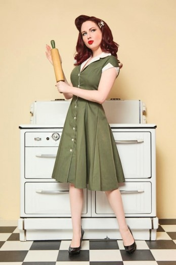 #pinupVintage House, Vintage Wardrobes, Olive Green, Pin Up Clothing, Girls Clothing, Pinup, Diners Dresses, Pin Up Girls, Retro Kitchens