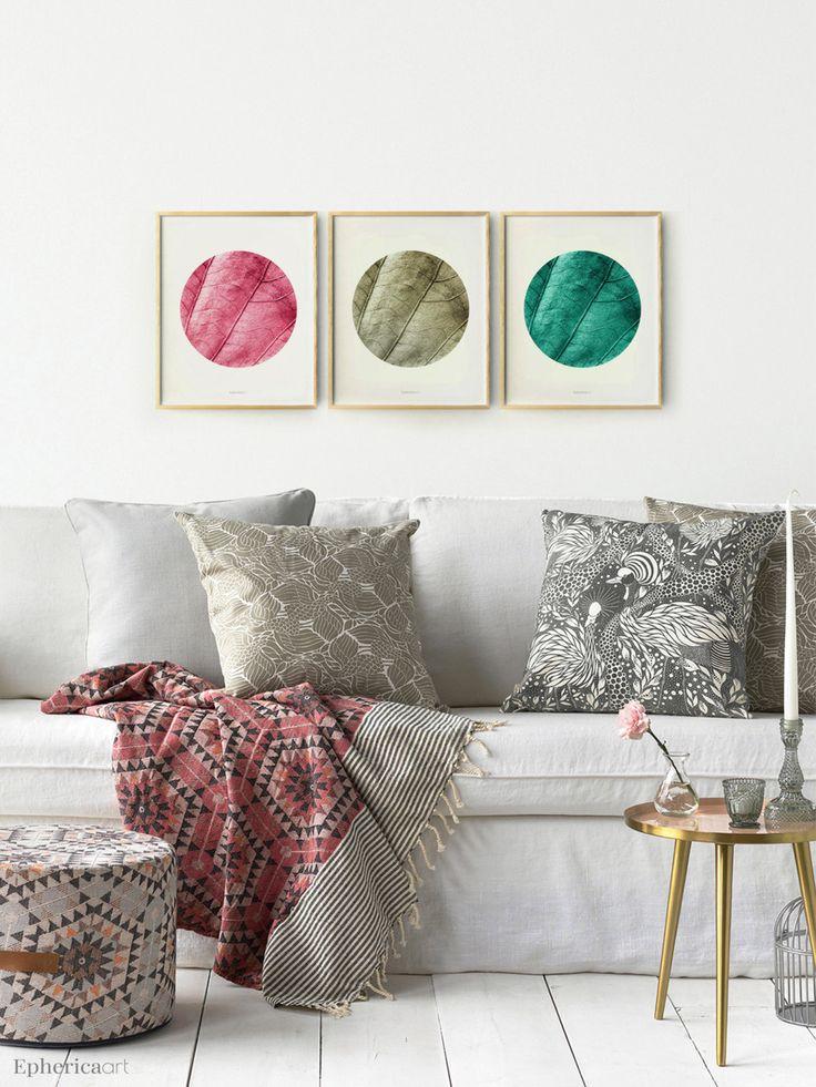 Modern Wall Set 3 Piece Art DIGITAL Prints Nature ArtTeal BedroomsLiving Room