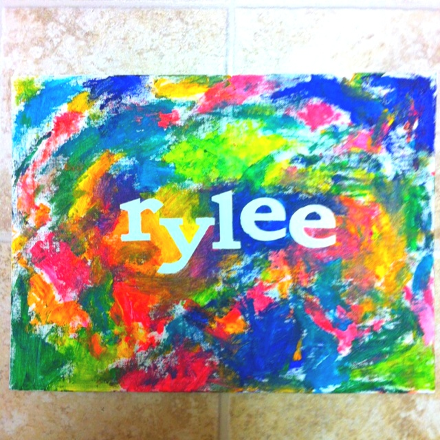 Used stickers on a canvas to spell her name and then let her paint the canvas. Pretty fun for a toddler!
