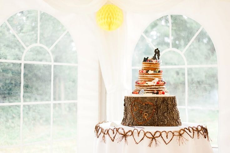 Naked Cake Layer Sponge Log Stand Multicoloured DIY Rustic Wedding http://vickylamburn.com/