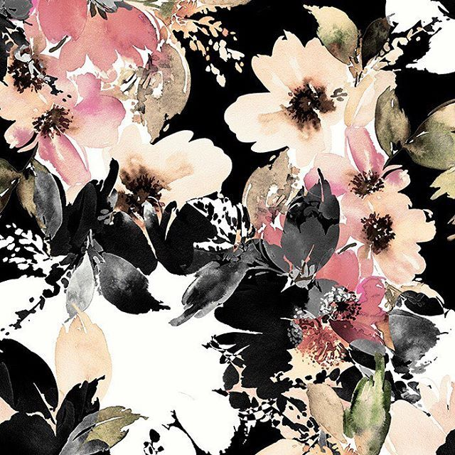 #patternbankdesigner » https://patternbank.com/mervearuta – Hand drawn & painted watercolor floral design IG: @ventusdesignstudio