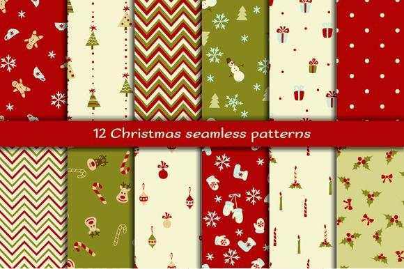 12 Christmas seamless patterns by romawka on @creativemarket
