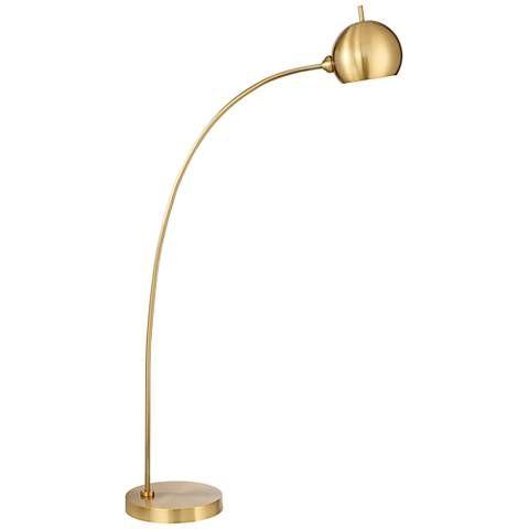 Capra Chairside Arc Floor Lamp Antique Brass