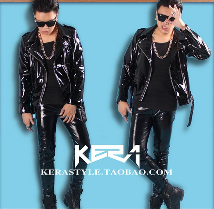 Cheap motorcycle leather jacket, Buy Quality leather jacket directly from China leather jacket leather jacket Suppliers: S-4XL ! 2016 NEW Men's slim DJ male singer bigbang GD shiny high elastic locomotive motorcycle leather jacket costumes clothing