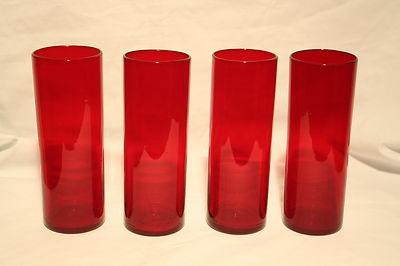 Handblown deep red tall glasses