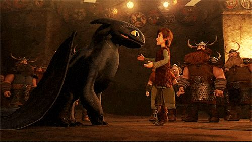 Everyone from the village of Berk watches as Hiccup is happily reunited with Toothless.