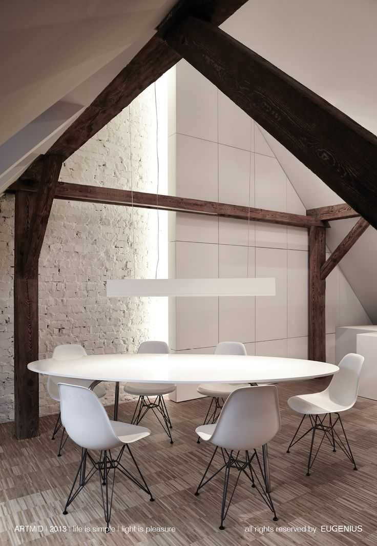 EUGENIUS. modern lighting fixtures, architectural interior lamps for home and office. beautiful modern interior with rustic warm element of wooden beam. our lamps can be hanged on very long metal cord, so it can lighten a table on elegant dinner and also on the conference or business meeting.
