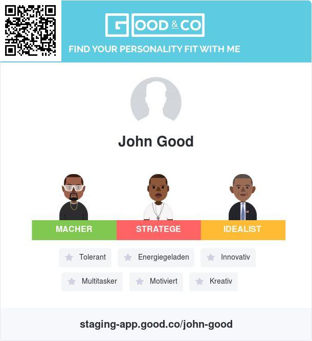 Sieh dir John Good das Persönlichkeitsprofil von Good&Co an!  John Good