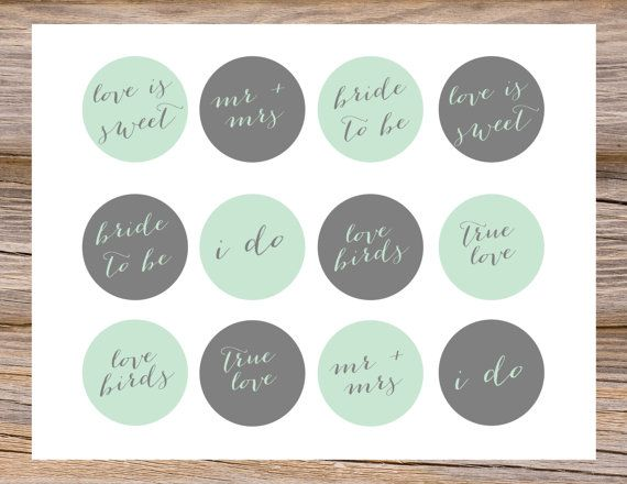 Mint Green Amp Gray Grey Cupcake Toppers Diy Calligraphy