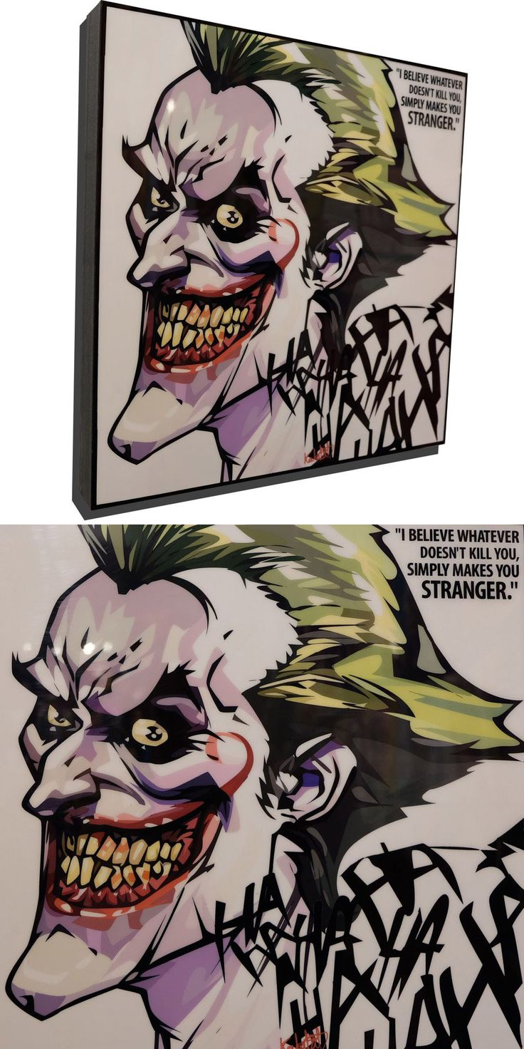 "The Joker Animated Poster Plaque with Quote ""I believe whatever doesn't kill you, simply makes you Stranger"""