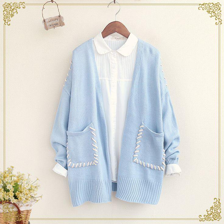Fashion v-neck knitting cardigan coat