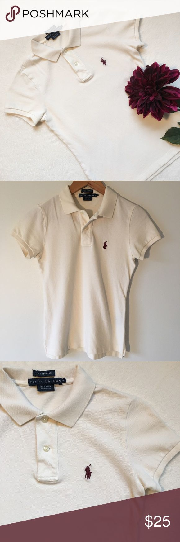 "{Ralph Lauren} The Skinny Polo Ralph Lauren The Skinny Polo. A body-conscious silhouette without any stretch. Ribbed polo collar. Two-button placket. Short sleeves with ribbed armbands. Tennis tail. Signature embroidered pony (in burgundy) at the left chest. 100% cotton. 16"" pit to pit. 22"" shoulder to bottom of hem. Good preloved condition. (Photo 4 represents style and fit in a different color). Ralph Lauren Tops"