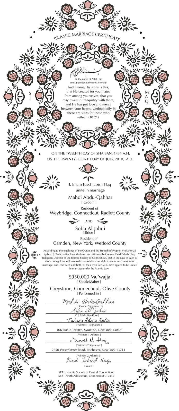 61 best certificate design images on pinterest certificate design nikkahanama islamic marriage certificate design example yelopaper Image collections